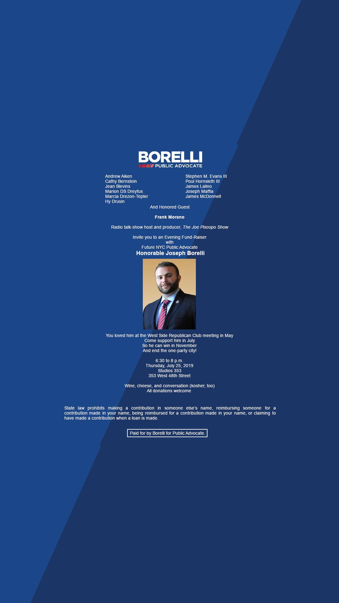 Borelli for Public Advocate Fundraiser